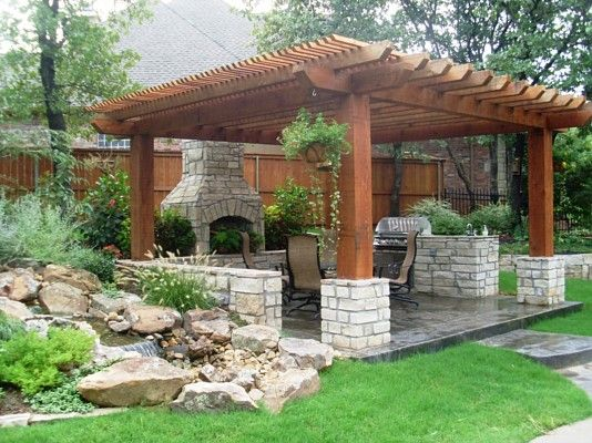 Outdoor Kitchen Pergola with Water Feature