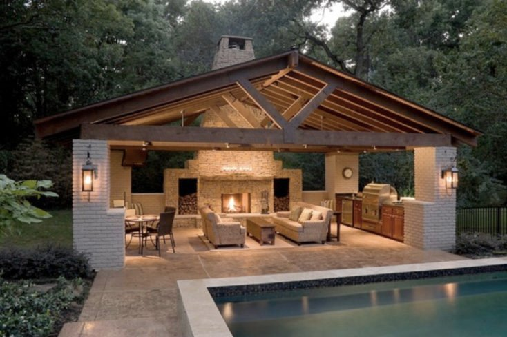 Creative pergola designs and diy options for Pool house plans with bathroom
