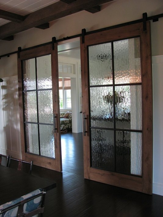modern and rustic interior sliding barn door designs With barn door with glass window