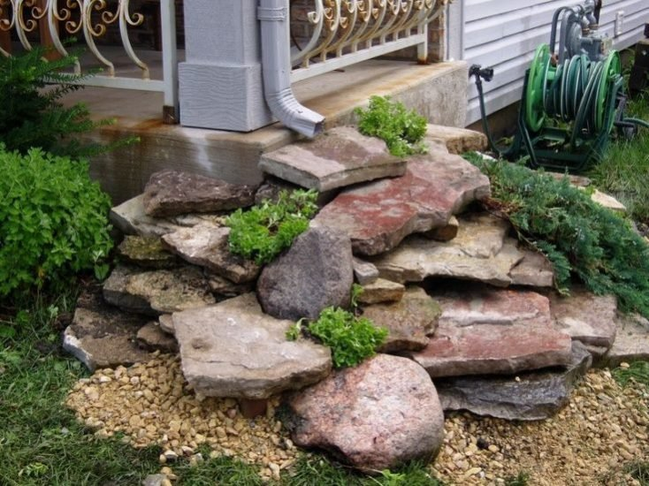 Rock Gutter Drain Bed