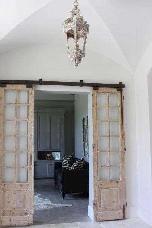 Modern and rustic interior sliding barn door designs for French door barn door