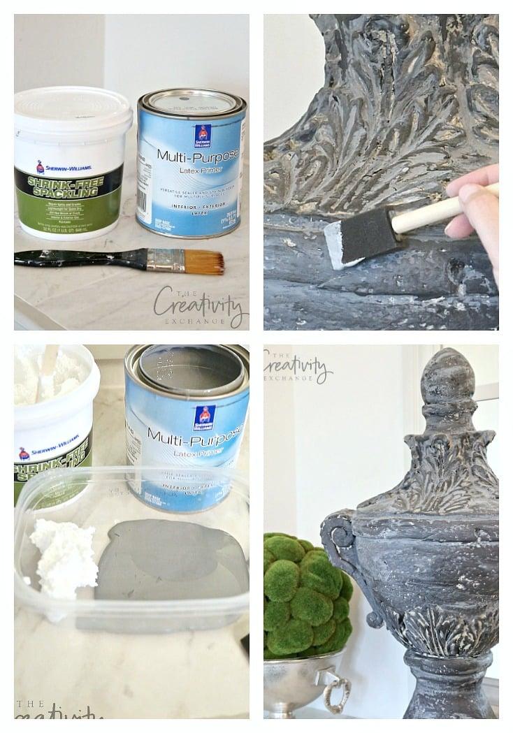 Faux cement paint treatment.