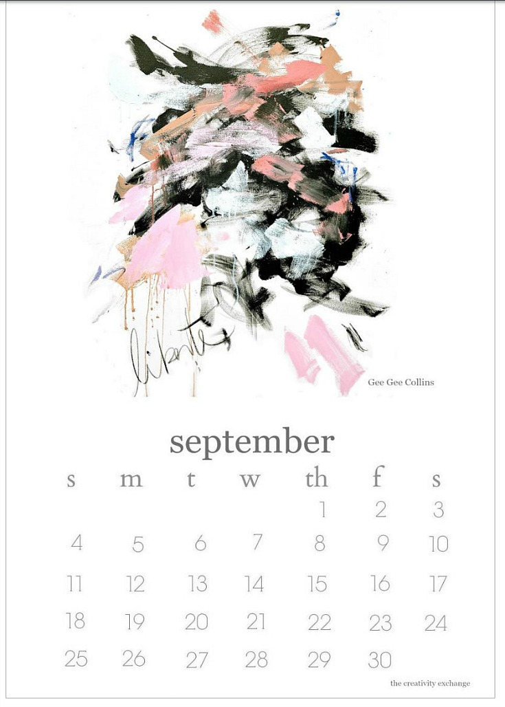 Free printable artist collaboration calendar.