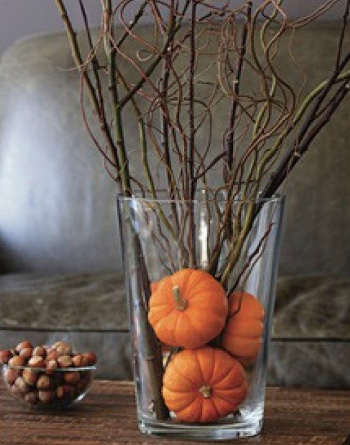 some twigs after thanksgiving you can replace the pumpkins and twigs