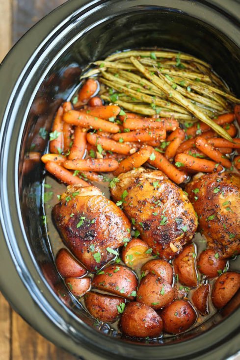 Aug 24,  · Everything then just goes right in the slow cooker and you drizzle the delicious herb butter right on top. I used my casserole crock to spread everything out but it's fine to layer everything in a regular slow cooker too. I suggest putting the veggies on bottom, drizzling them with the herb butter, then adding the chicken on top/5(6).