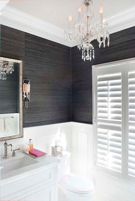 Black and White Bathroom. Black Grass Cloth