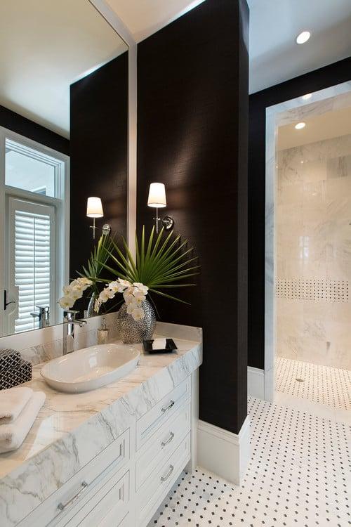 black grasscloth on bathroom walls.