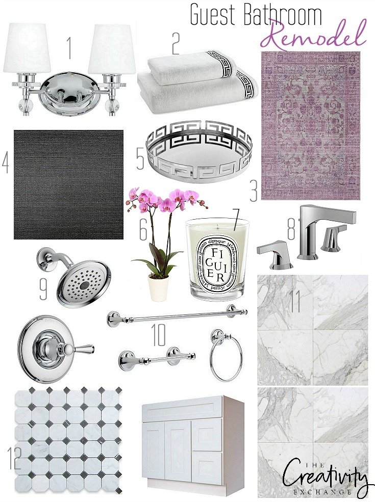 Guest Bathroom Remodel Plan and Sources.
