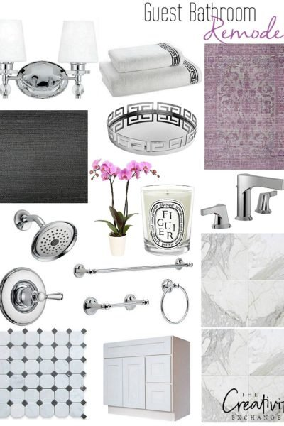 Guest Bathroom Remodel Design Board and Plan