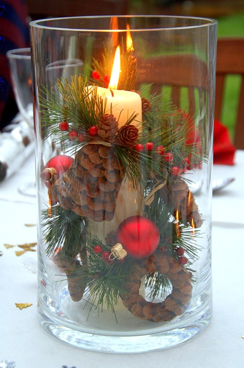 Pinecone Candle Vase