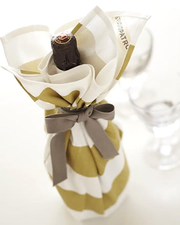 Tea Towel Wrapped Wine