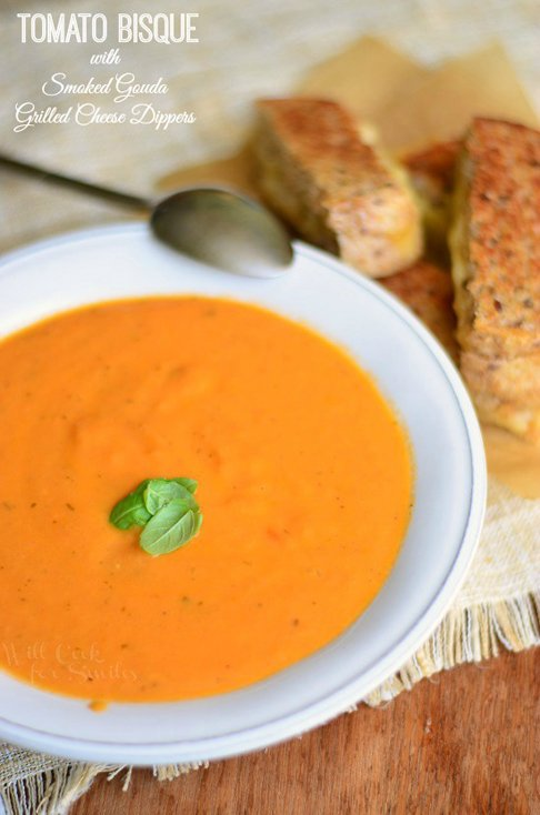 Tomato Bisque with Smoked Gouda Grilled Cheese Dippers