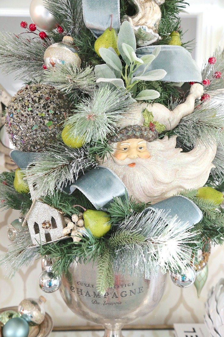 Work faux pears into Christmas trees for a pop of citrus green.
