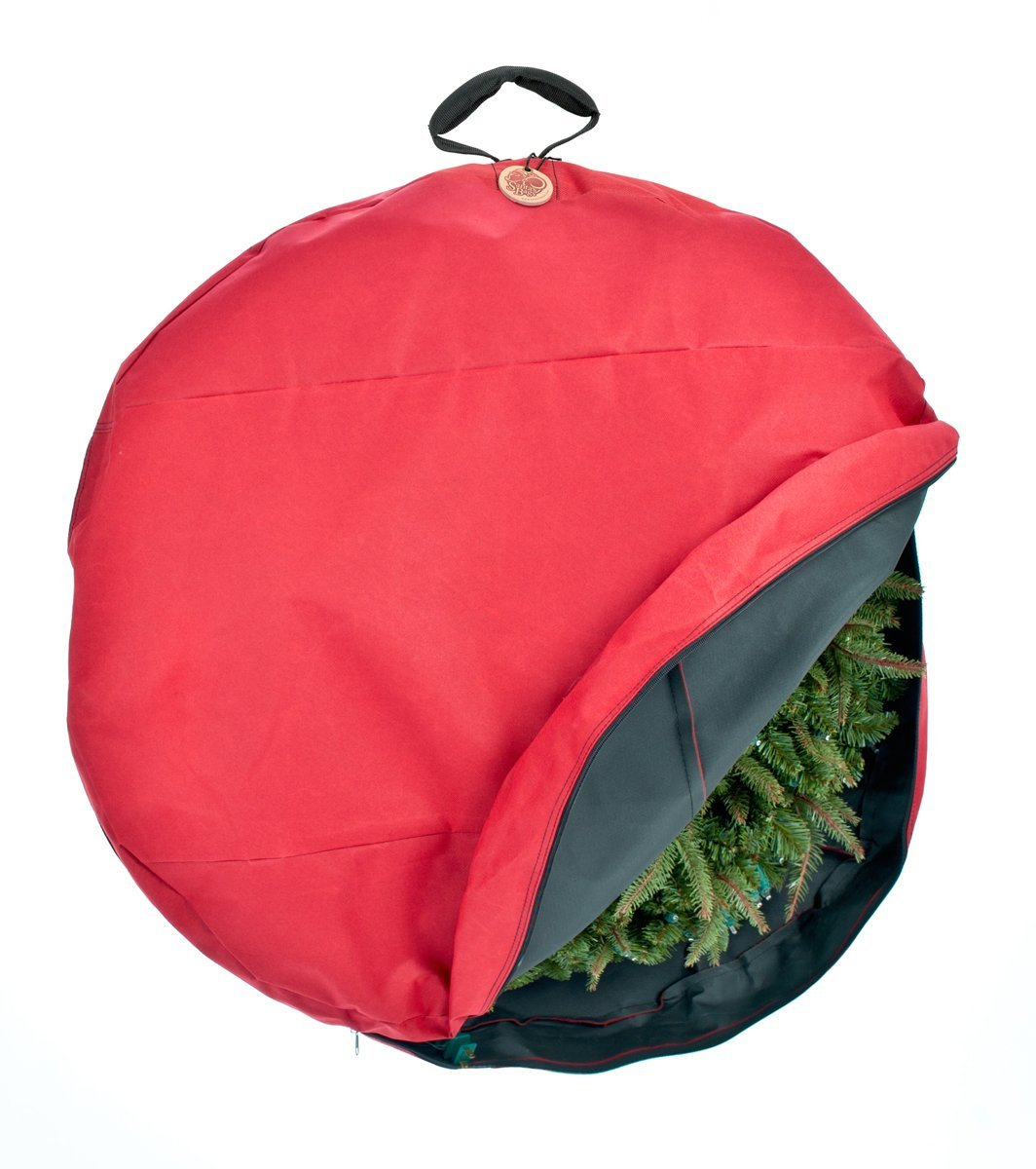 Christmas wreath heavy duty storage bag with handle to hang.