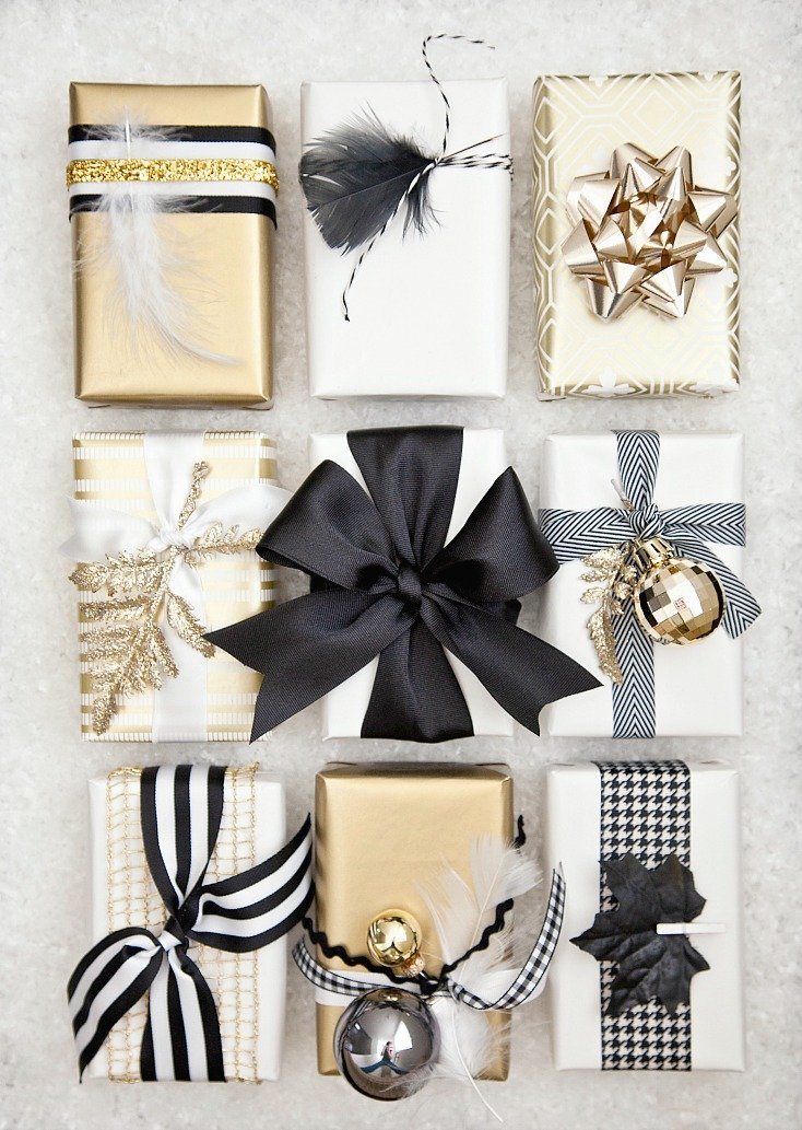 Black, white and gold gift wrap via Boxwood Clippings