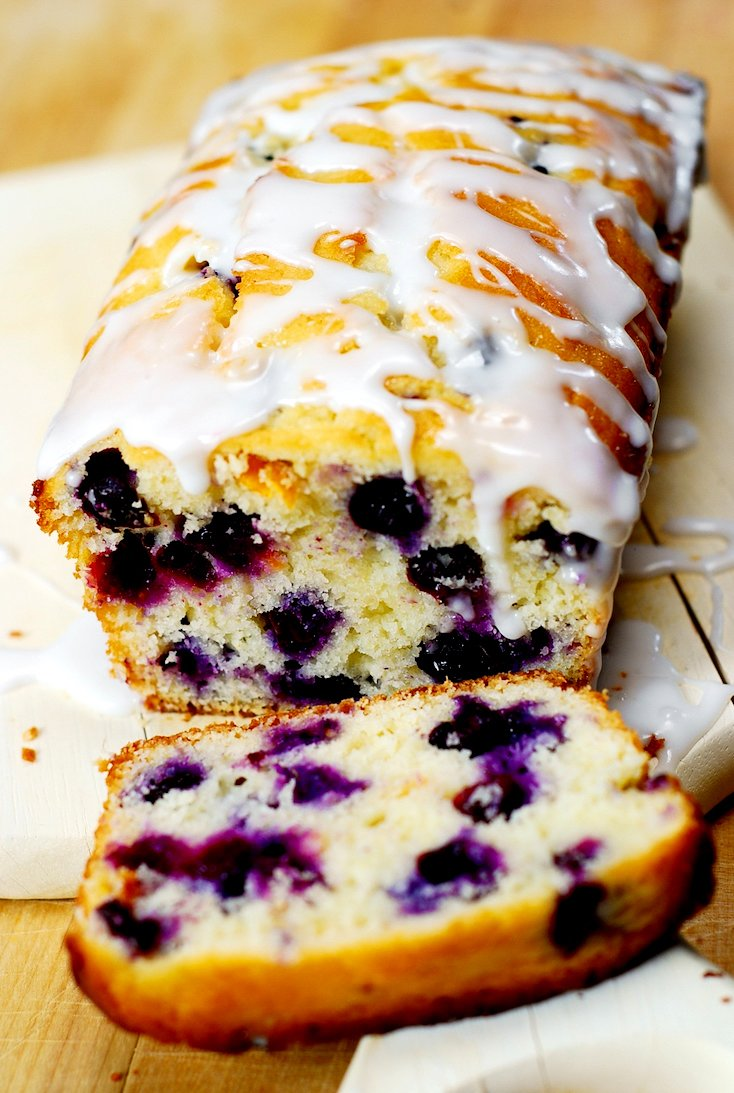 Blueberry Vanilla Bread with Lemon Glaze