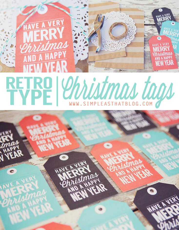 Free Printable Retro-Type Christmas Gift Tags
