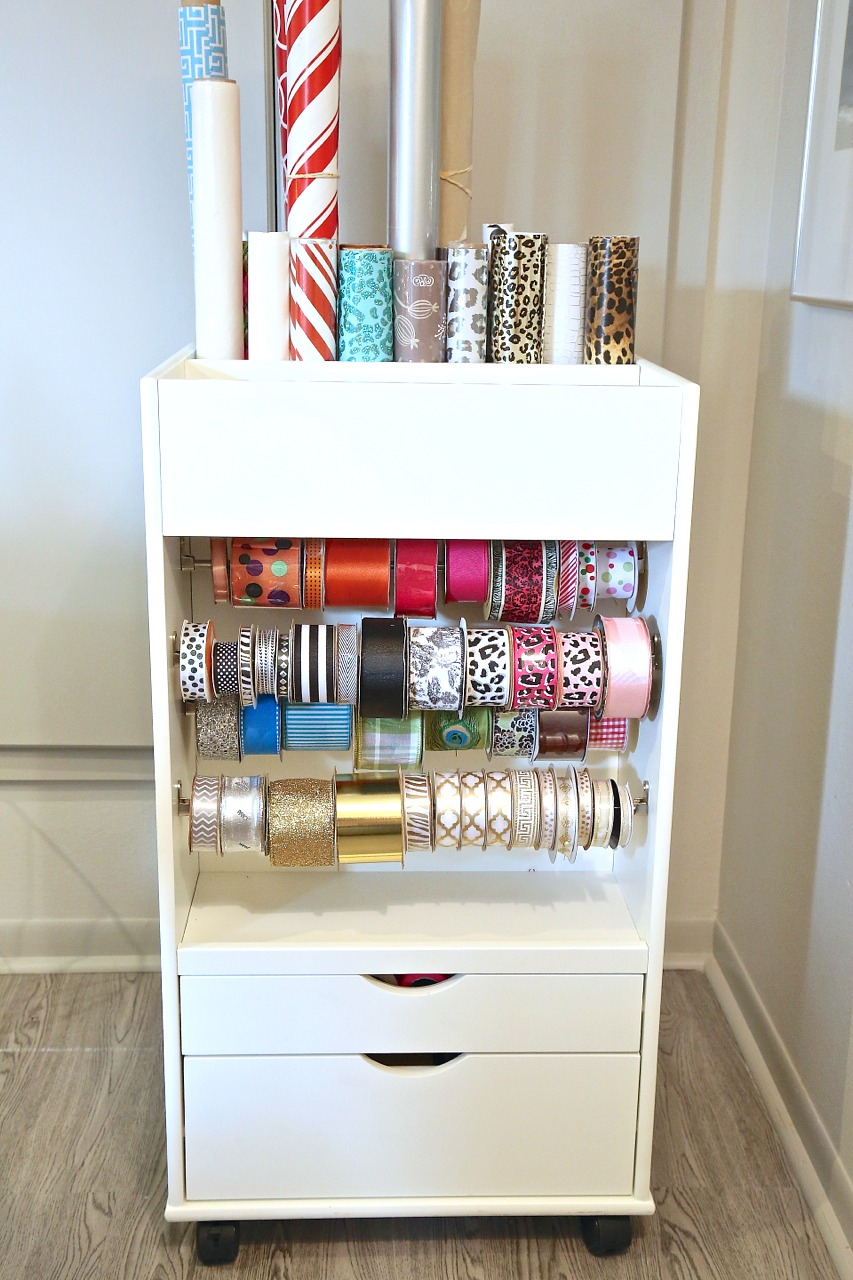 Gift Wrap Cart that stores over 50 plus spools of ribbon and 25 rolls of gift wrap.