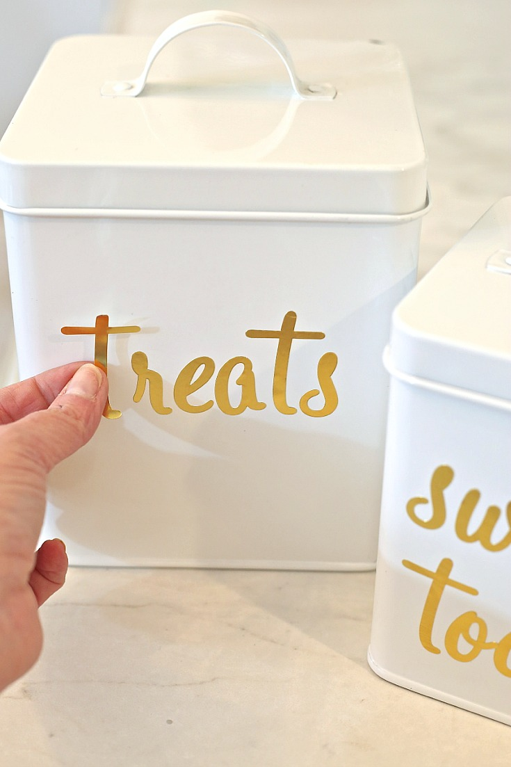 Label metal and plastic storage canisters with permanent gold foil sticker letters.