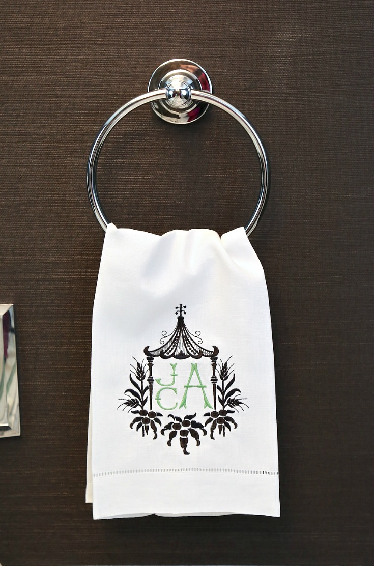 Monogrammed pagoda guest towels.
