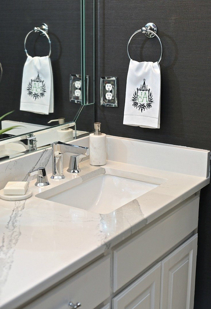 Quartz countertop and Zura Faucet from Delta