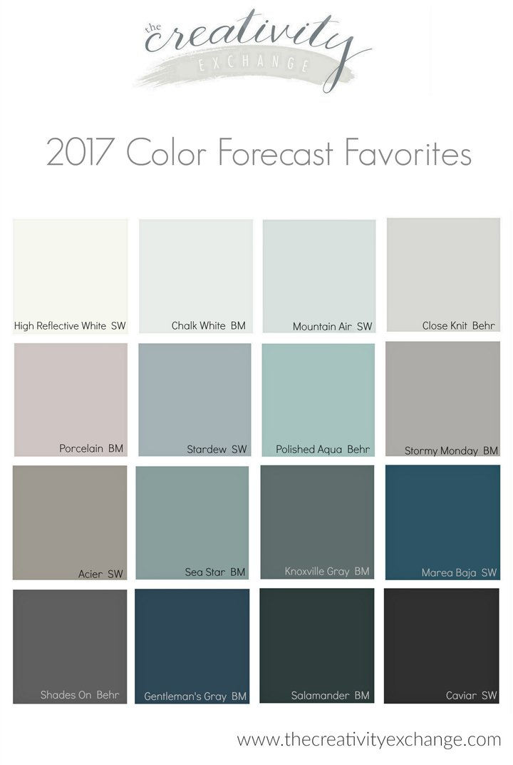 2017 paint color forecasts and trends for Grey white paint colors