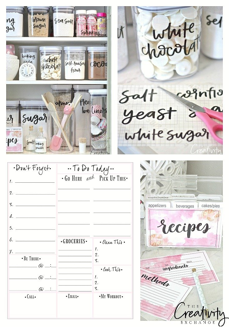 Free organizing printables including to do lists and labels.