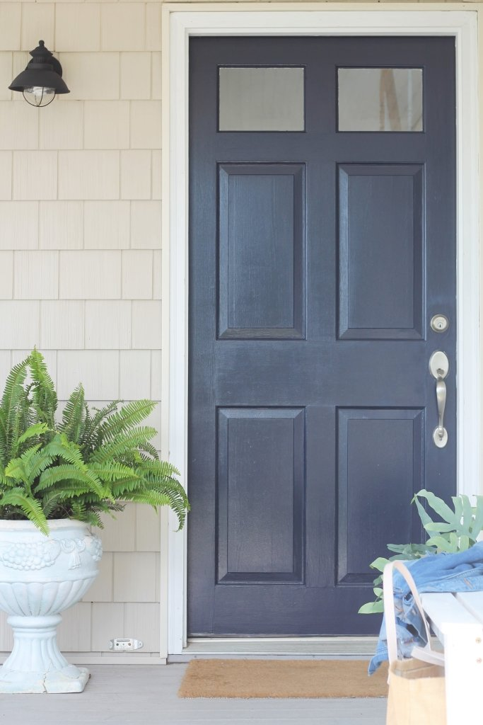 Front Door Color Is Sherwin Williams Anchors Aweigh Via City Farmhouse