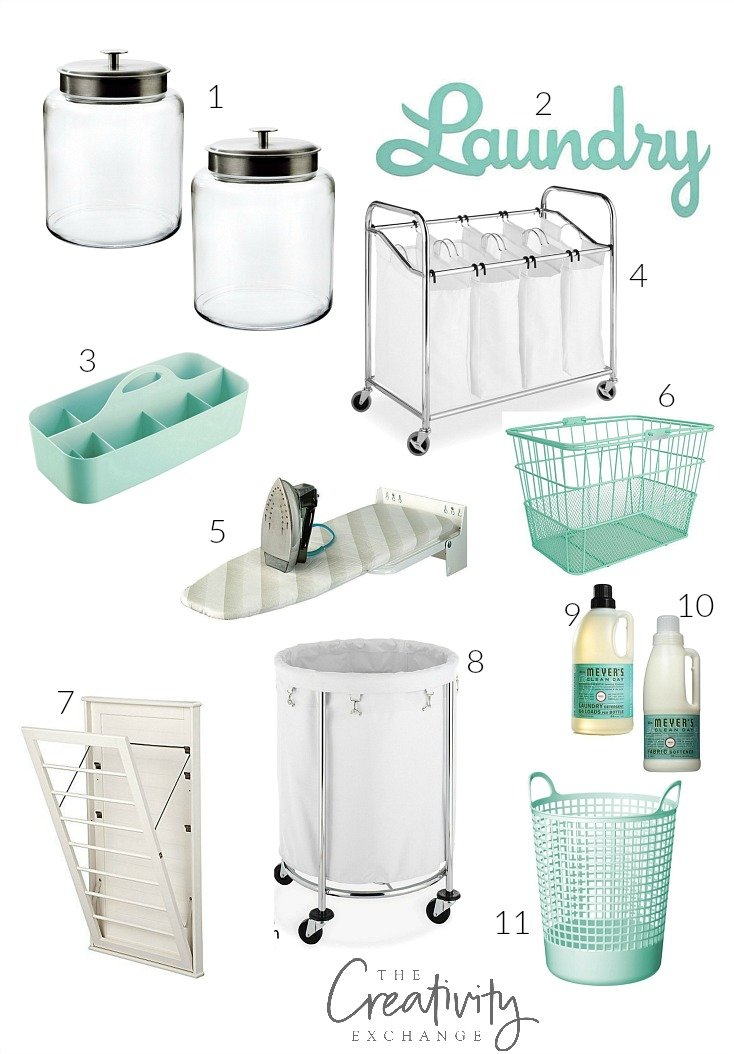 Laundry room organizing and great storage pieces.
