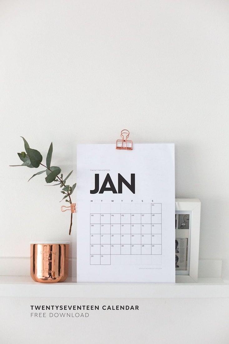 Printable 2017 Wall Calendar