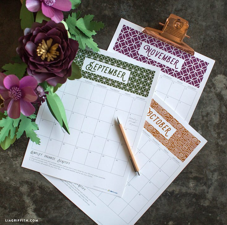 Printable Monthly Organizing Calendar