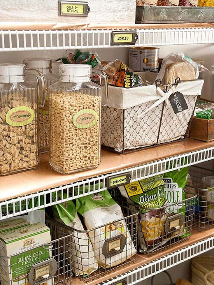 Wire Basket Pantry Organization