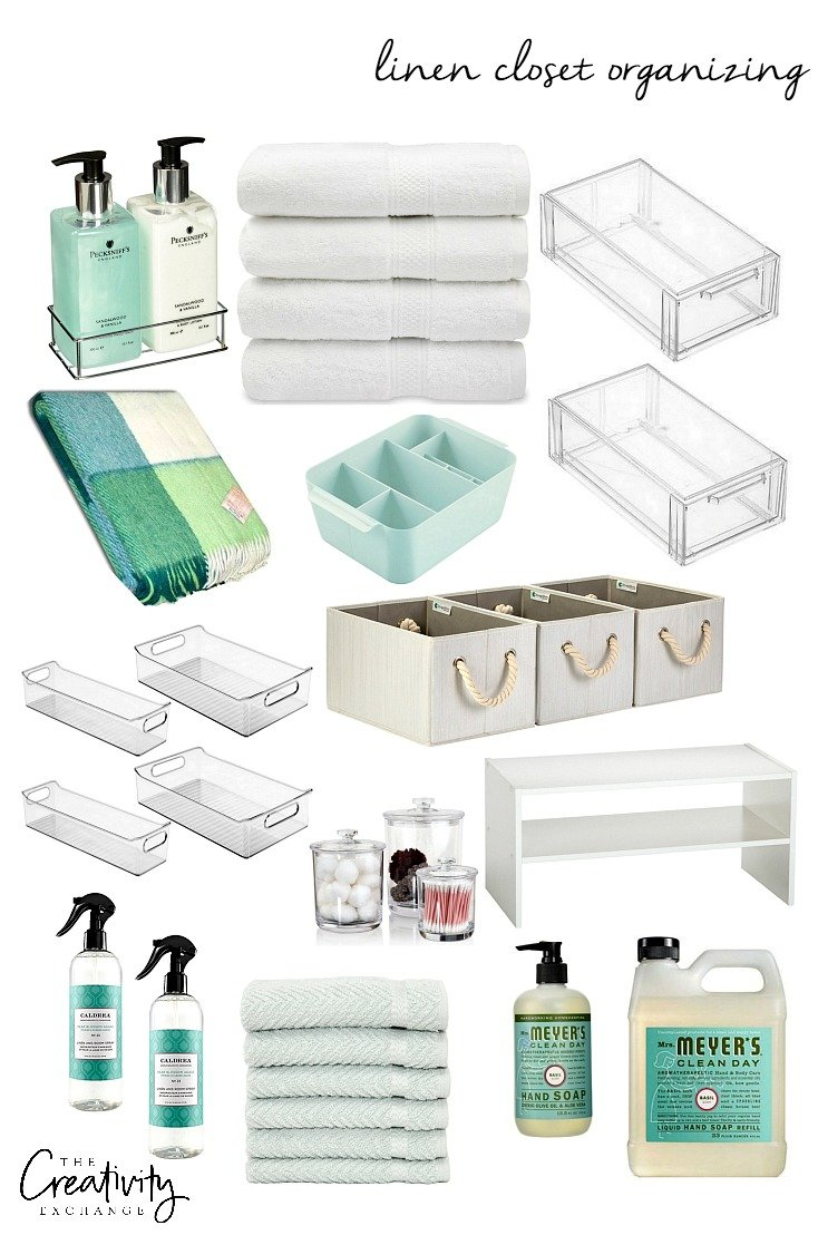 Products and storage containers for organizing a linen closet