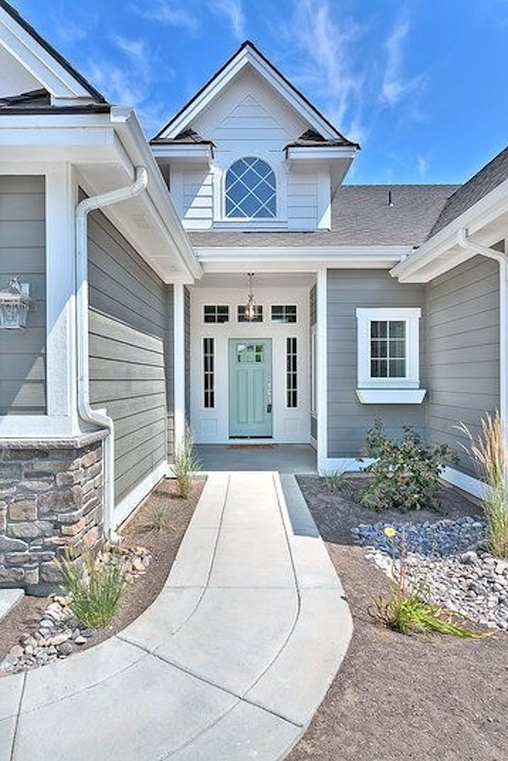 Popular front door paint colors for Blue house builders