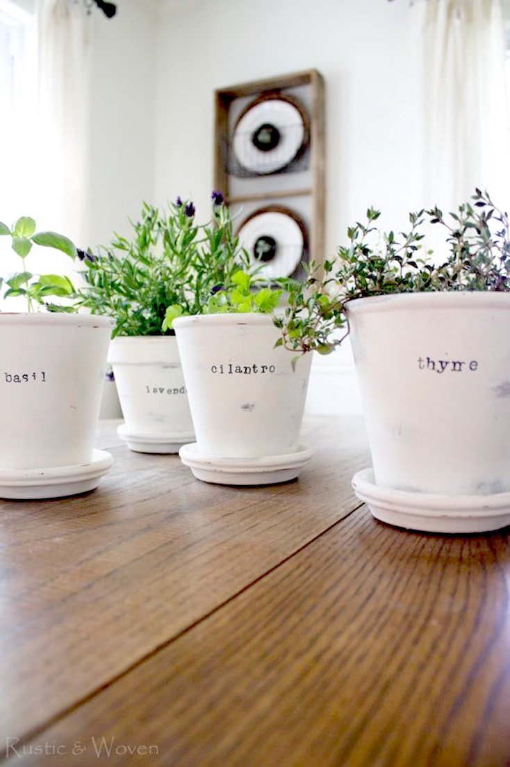Chalk-Painted Herb Pots