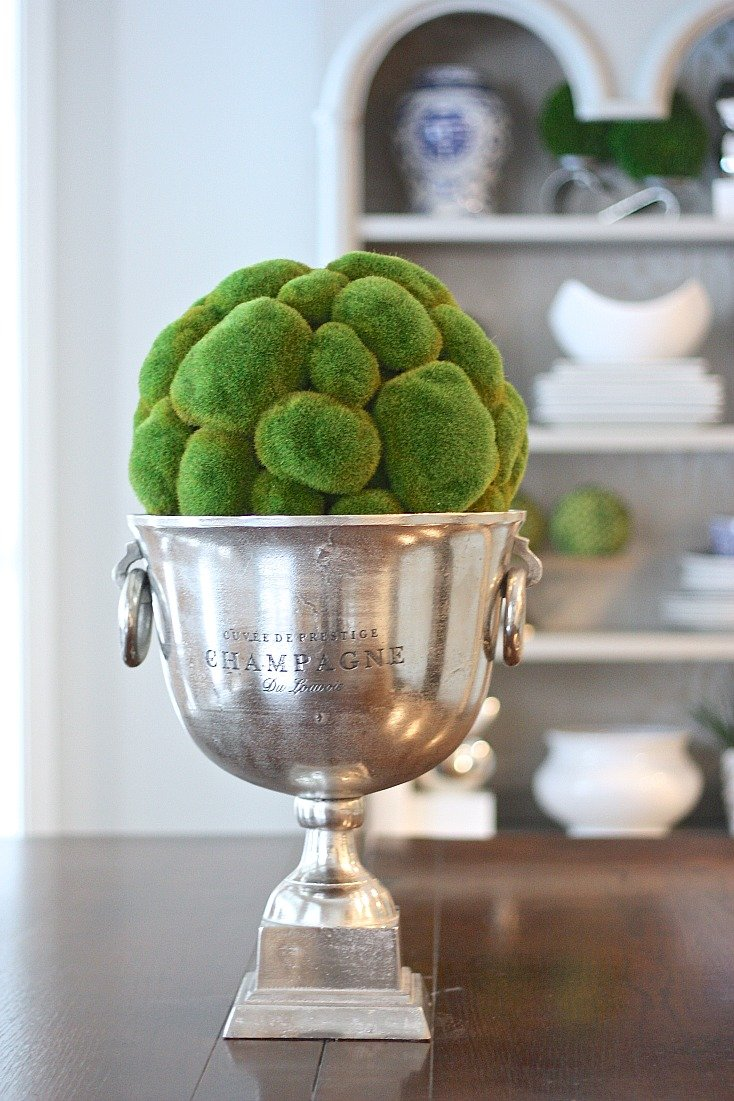 Cobblestone moss ball in champagne bucket.