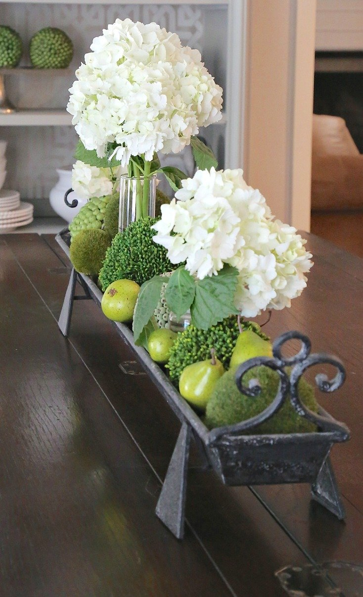Metal Trough Centerpiece.