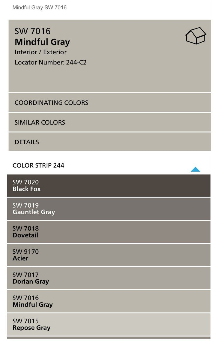 Sherwin Williams Color Strip. Eider White, Repose Gray and Mindful Gray