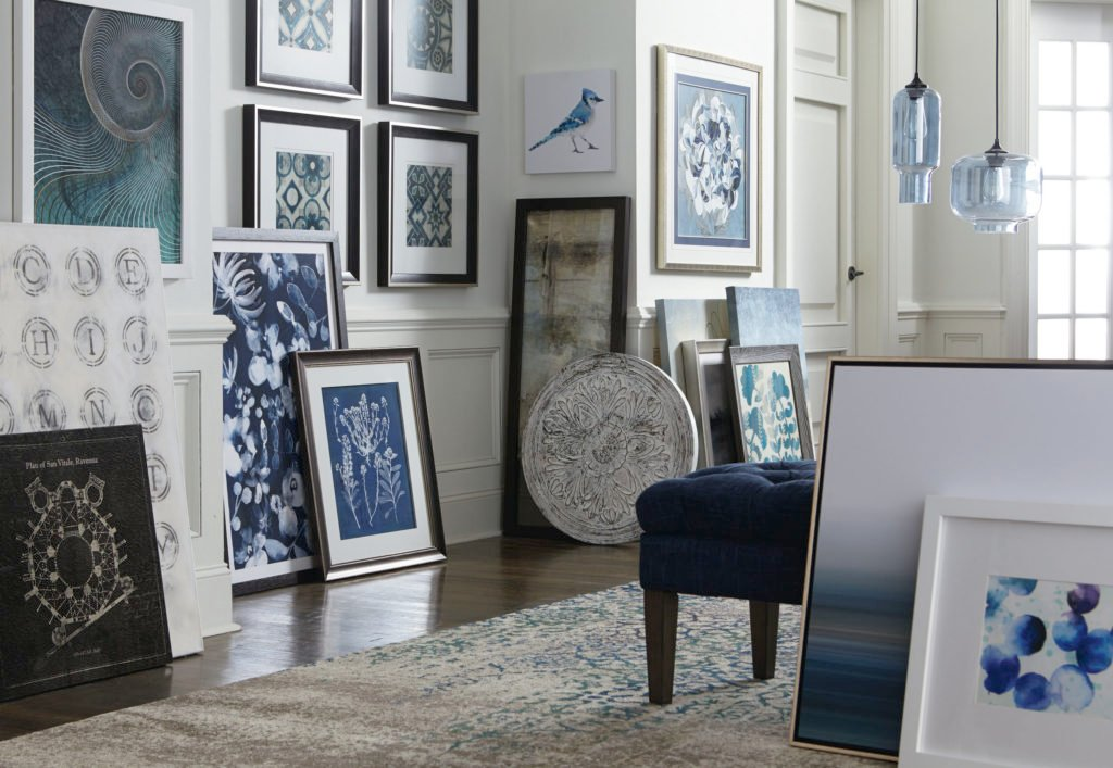 Beautiful blue and white art from Bassett Furniture.