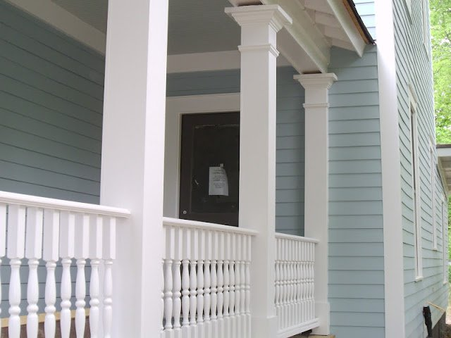 Exterior paint color is Wedgewood Gray Benjamin Moore.