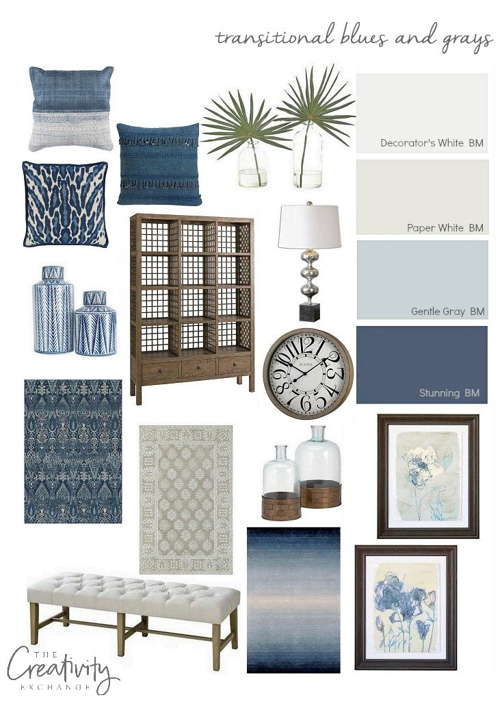 Layering transitional blues and grays in a home.