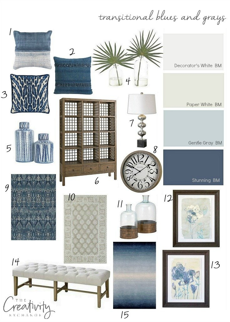 Layering transitional blues and grays in a space.