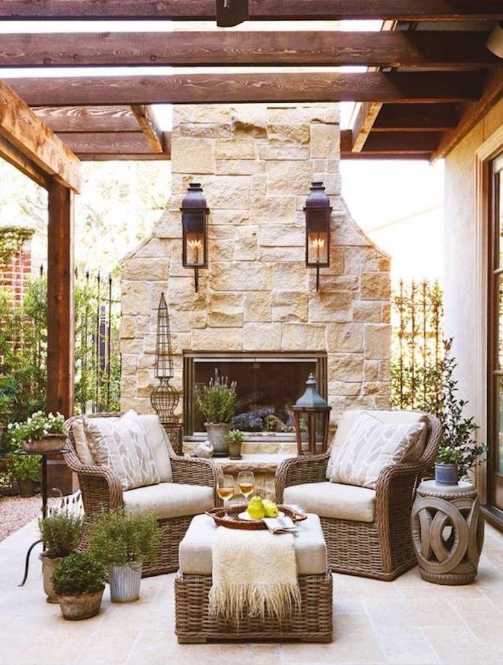 Stone Pergola Fireplace