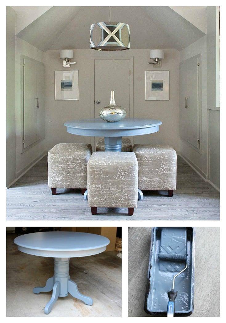 Using oil based enamel paint for furniture revamp.