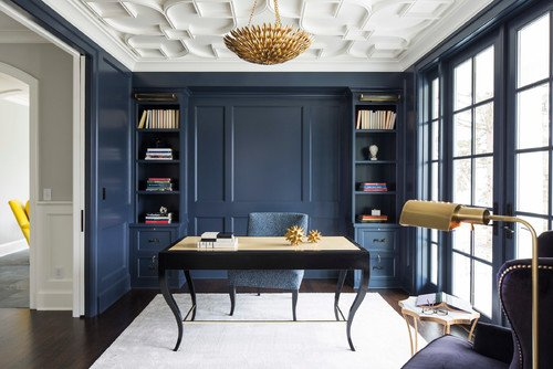 Wall color is Benjamin Moore Hale Navy.
