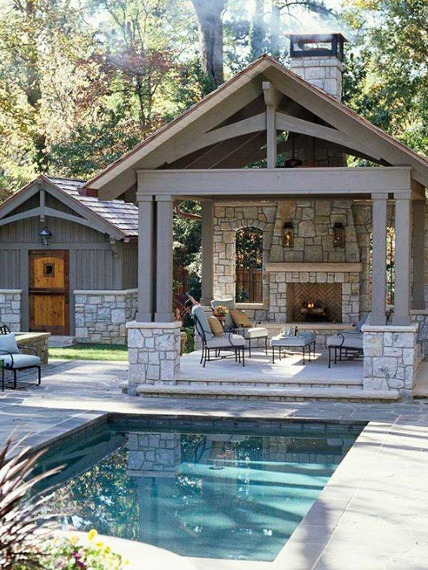 Pool House With Beautiful Outdoor Fireplace