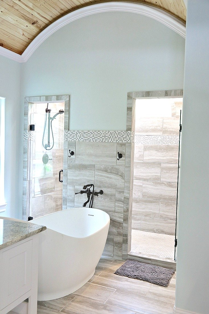 Bathroom paint color is Sherwin Williams Sea Salt.