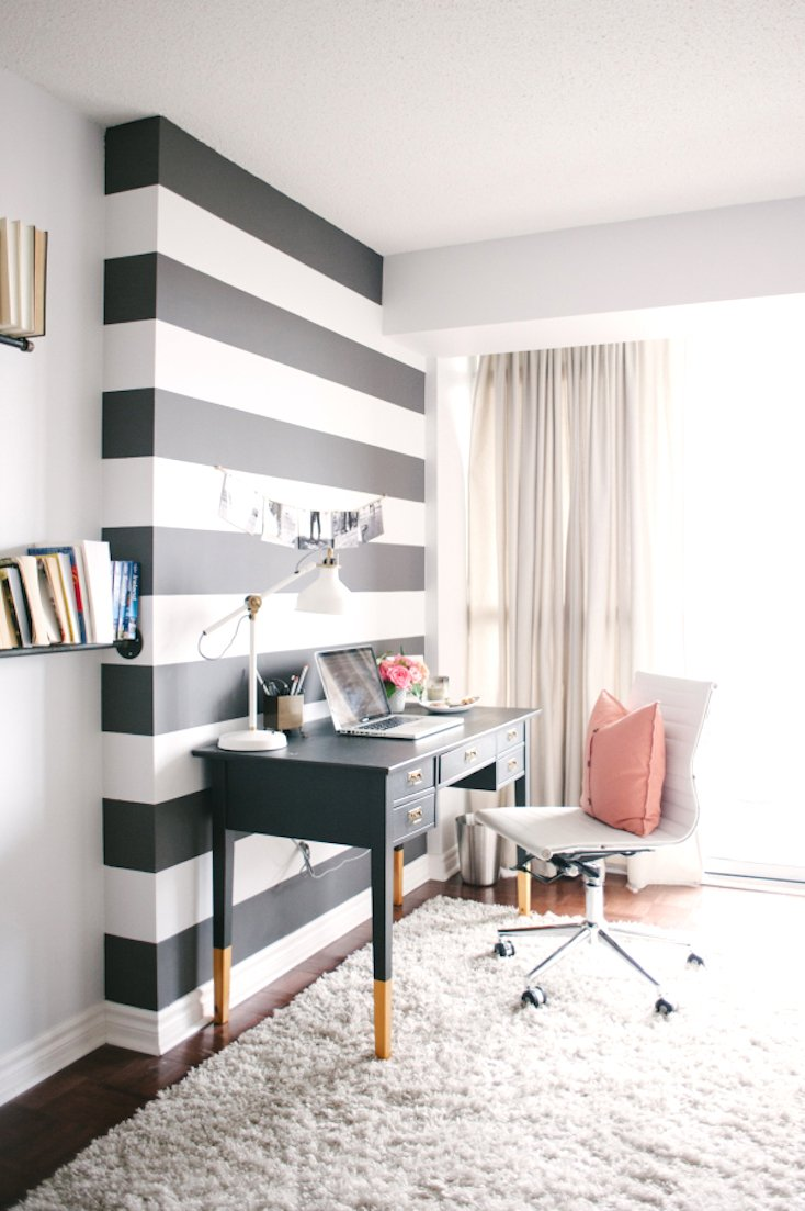 Black and White Stripped Accent Wall