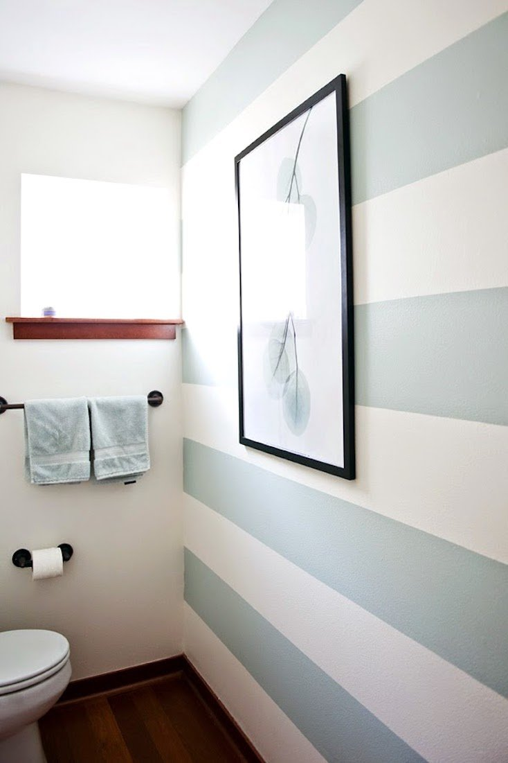 Blue and White Stripped Accent Wall