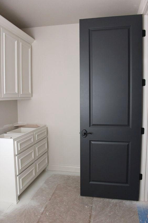 Door color is Benjamin Moore Wrought Iron.